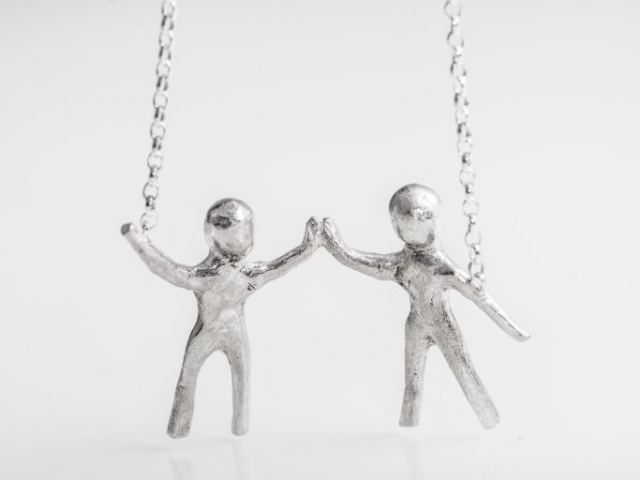 Little People Holding Hands Necklace Abigail J Marsh