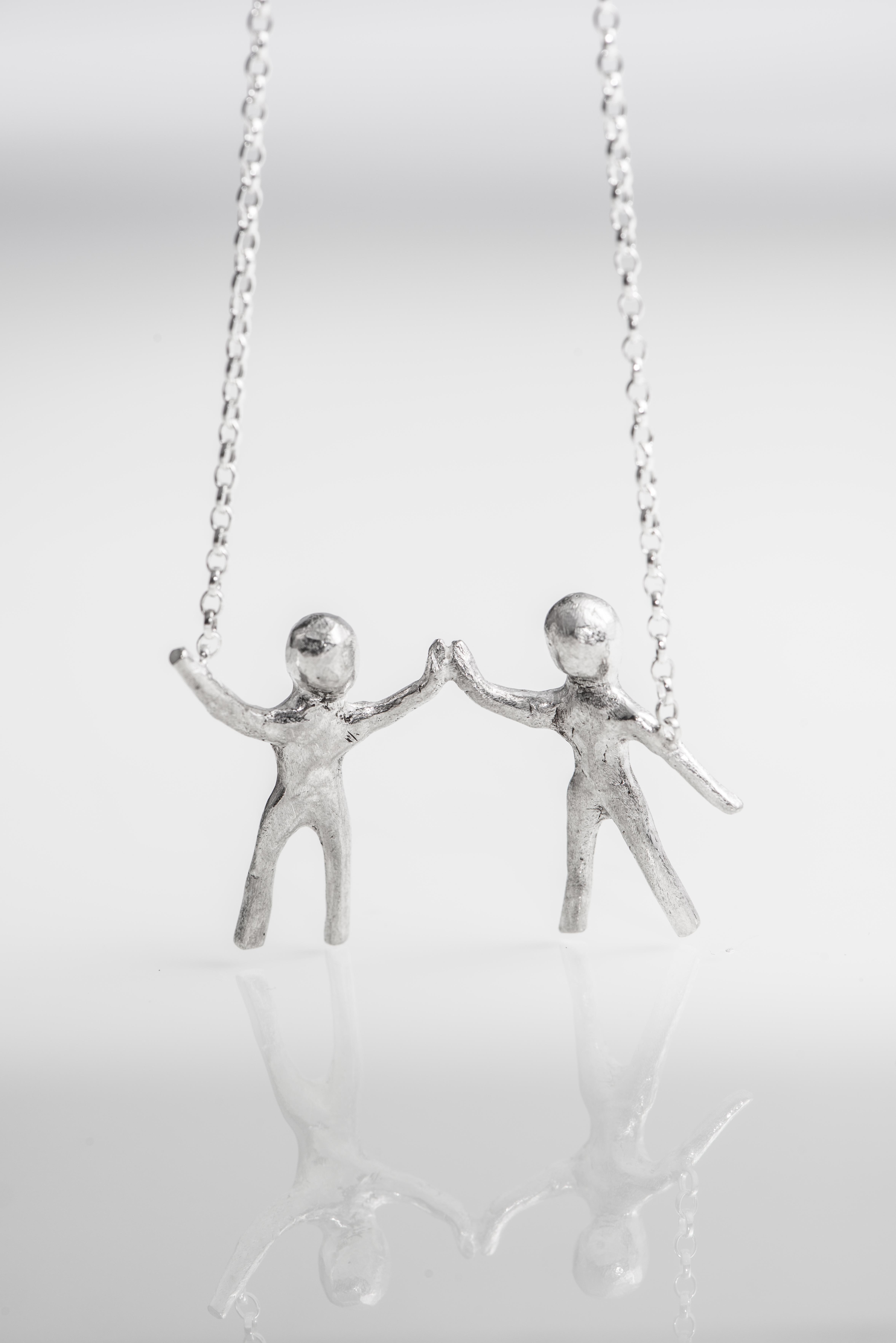 Little People Holding Hands Necklace Abigail J Marsh